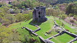 Aerial view of the historic Dolbadarn Castle in Llanberis, Snowdonia - Wales Footage