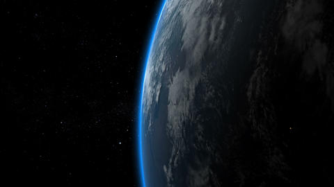 Earth flyby of meteor, asteroid, spaceship, rocket, satellite. Earth from space Animation