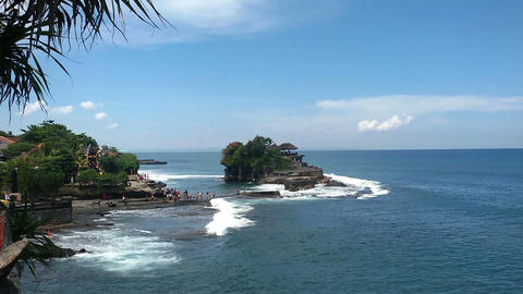 Tanah Lot - the current Hindu temple, one of the main attractions of Bali Footage