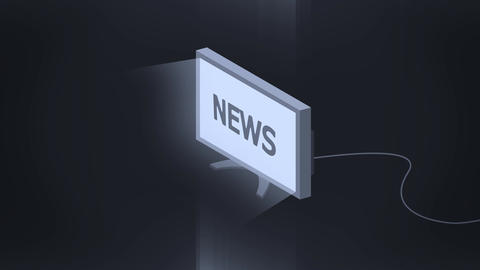 Isometric TV symbol turn is on animation with news sign Animation