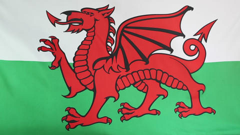 Moving national flag of Wales Live Action
