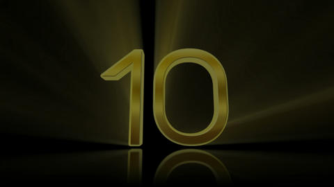 Countdown, count down. 10 to 0. Golden Stock Video Footage