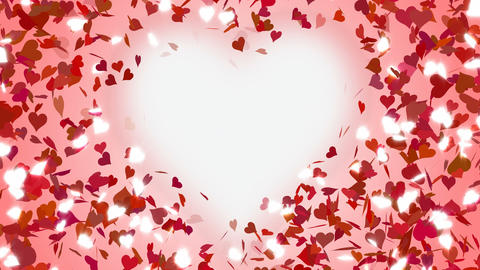 Hearts falling, glitter, animation, background. Loop Stock Video Footage