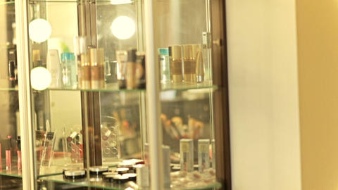 Beautiful mirror in the beauty salon. Make-up mirror.... Stock Video Footage