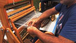 Weaver hands closeup working on the old loom, etara, bulgaria Footage