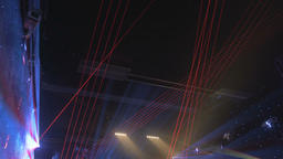 Laser Stage Lights Projecting Beams Beneath the Ceiling Footage