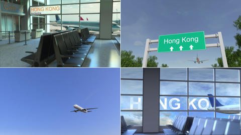 Trip to Hong Kong. Airplane arrives to China conceptual montage animation Live Action
