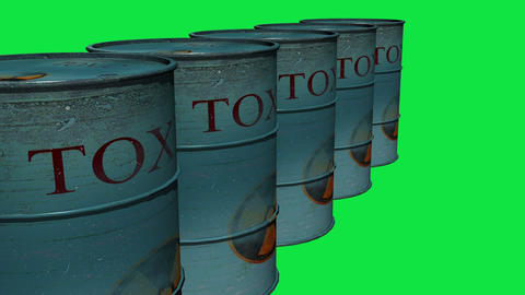 3d animation of metal barrels full with biological materials that present a risk Animation