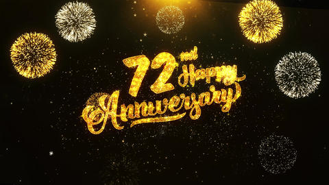 72nd Happy Anniversary Text Greeting, Wishes, Celebration, invitation Background Live Action