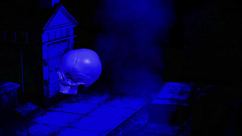 creepy graveyard halloween background scene with graves and human skull Animation