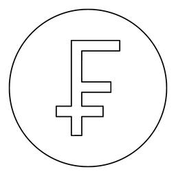 Franc symbol icon black color in round circle ベクター