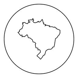 Map of Brazil icon black color in round circle ベクター