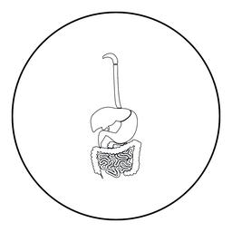 Digestive system icon black color in round circle ベクター