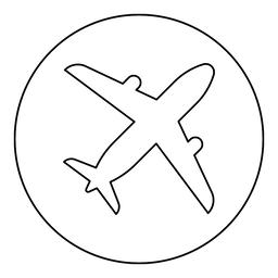 Airplane icon black color in round circle Vector