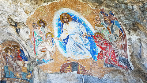 Orthodox mural in a cave Photo