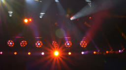 Row of LED Lights and Beam Lights on a Stage Live Action