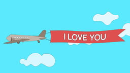 "Airplane is passing through the clouds with ""I Love You"" banner - Seamless loop Animation"