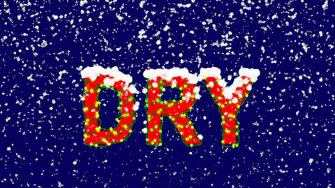New Year text text DRY. Snow falls. Christmas mood, looped video. Alpha channel Animation