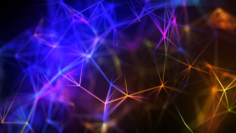 Abstract Bright Futuristic Polygonal Lines Connections Motion Background CG動画素材