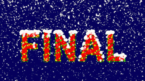 New Year text text FINAL. Snow falls. Christmas mood, looped video. Alpha Animation