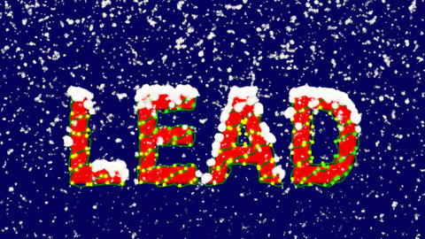 New Year text text LEAD. Snow falls. Christmas mood, looped video. Alpha channel Animation