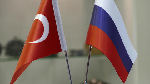 Russian Turkish flags Footage