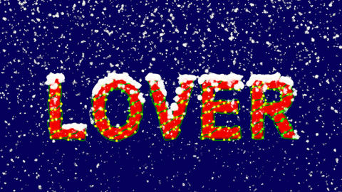 New Year text text LOVER. Snow falls. Christmas mood, looped video. Alpha Animation