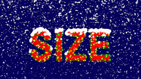 New Year text text SIZE. Snow falls. Christmas mood, looped video. Alpha channel Animation