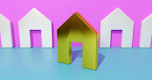 Real estate concept. Symbol for buying a favorite house. 3d rendering Footage