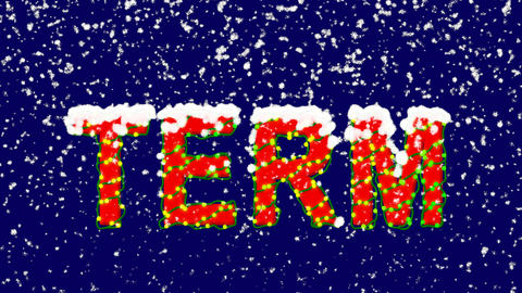 New Year text text TERM. Snow falls. Christmas mood, looped video. Alpha channel Animation