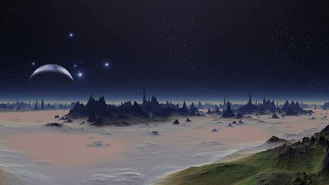 Sunset Lights Alien Planet Animation