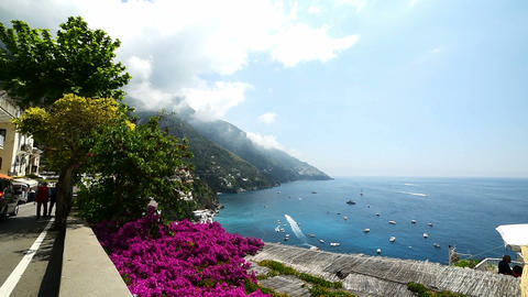 Beautiful coastline in world famous Positano, Amalfi coast Footage
