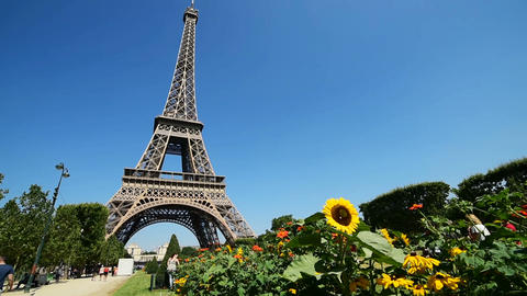 Tourists by world famous Eiffel tower in Paris Live Action