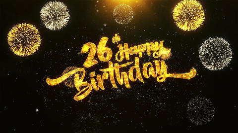 26th Happy Birthday Text Greeting, Wishes, Celebration, invitation Background Live Action