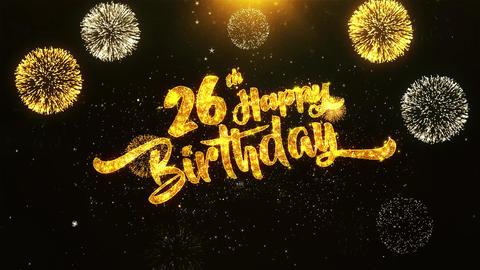 26th Happy Birthday Text Greeting, Wishes, Celebration, invitation Background Footage