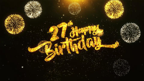 27th Happy Birthday Text Greeting, Wishes, Celebration, invitation Background Footage