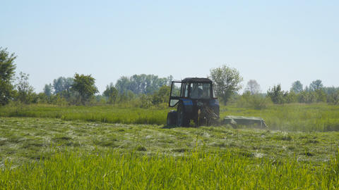 Tractor mowing grass in meadow Footage