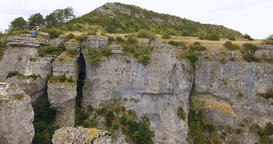 Precipice Rocks and Rock Climbers Aerial Stock Video Footage