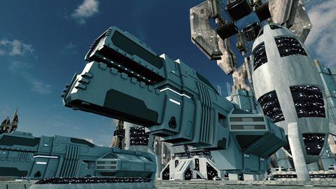 Spaceship take-off in futuristic sci-fi city 4K Animation