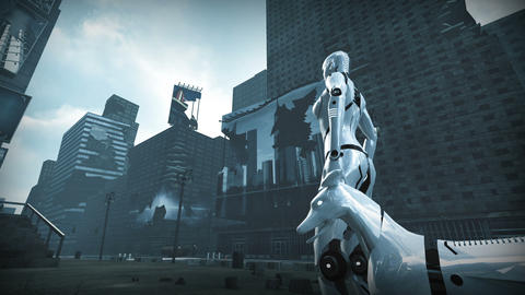 Animation of a robot woman and robot dog in ruined city Animation
