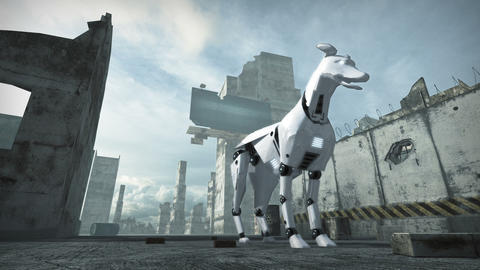 Animation of a robot dog in ruined city. 3D rendering Animation