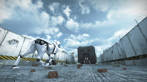 Animation of a robot dog walking in barbed wire city. 3D rendering Animation