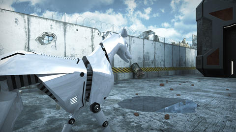Animation of a robot dog in apocalyptic city. 3D rendering Animation