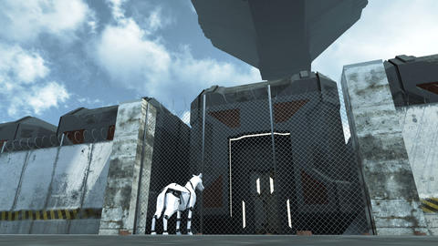 Futuristic cargo spaceship hoovering over sci fi prison. 3D rendering Animation