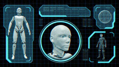Animated distorted monitor screen with robot blueprint in sci fi style Animation