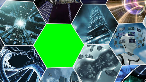Animated video wall honey comb, rotating with green screen. 3D rendering 4K Animation
