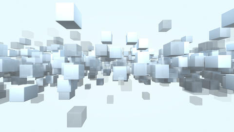 Animated cube shape particles transparent loop able. 3D rendering 4K Animation