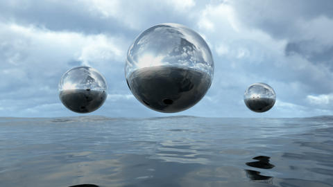 Animated abstract liquid transparent sphere above water in puzzle pattern. 3D Animation
