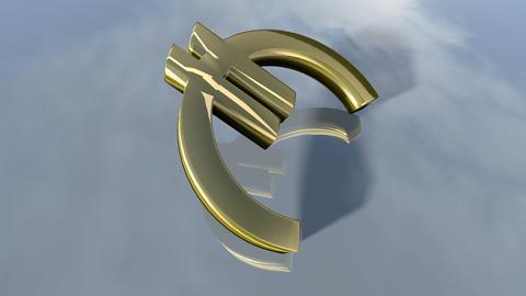Animated falling shiny Euro money sign. 3d rendering 4K Animation