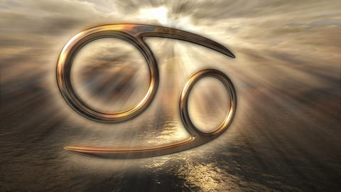 Animated mystic golden zodiac horoscope Cancer symbol. 3D rendering 4K Animation
